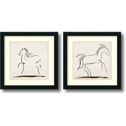 Amanti Art Horses - Set of 2 Framed Art Print by Tom Reeves, 18H x 18W