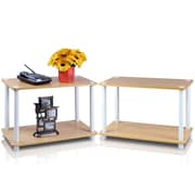 Furinno® Wood 2-Tier End Tables Set, Beech & White