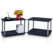 Furinno® Wood 2-Tier End Tables Set, Black & Grey