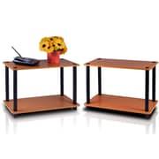 Furinno® Wood 2-Tier End Tables Set, Light Cherry & Black