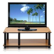 Furinno® Rubber trees and PVC Tubes Television Stand, Light Cherry & Black