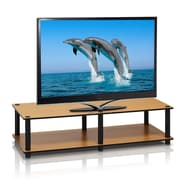 "Furinno® 10.9"" x 41.3"" Rubber Trees & Polyvinyl Chloride Television Stand, Light Cherry & Black"