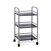 "Furinno® 29.6"" x 15.8"" Wood & Metal 3-Tray Rolling Cart"