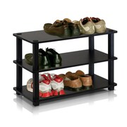 "Furinno® 15.4"" x 23.6'' Rubber Trees & Polyvinyl Chloride Shoe Rack, Espresso & Black"