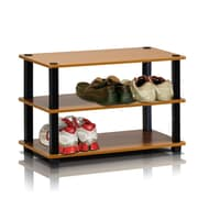 "Furinno® 15.4"" x 23.6'' Rubber Trees & Polyvinyl Chloride Shoe Rack, Light Cherry & Black"