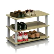 "Furinno® 15.4"" x 23.6'' Rubber Trees & Polyvinyl Chloride Shoe Rack, Steam Beech & White"