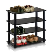"Furinno® 22.2"" x 23.6"" Rubber trees and PVC Tubes Shoe Rack, Espresso & Black"