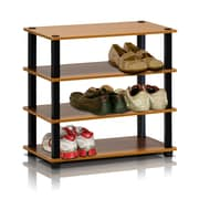 "Furinno® 22.2"" x 23.6"" Rubber trees and PVC Tubes Shoe Rack, Light Cherry & Black"