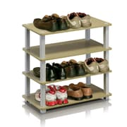 "Furinno® 22.2"" x 23.6"" Rubber trees and PVC Tubes Shoe Rack, Steam Beech & White"