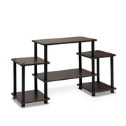 Furinno® 22.8 x 41.5 Rubber Trees & Polyvinyl Chloride TV Stand, Dark Brown & Black