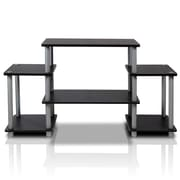 Furinno® 22.8 x 41.5 Rubber Trees & Polyvinyl Chloride TV Stand, Black & Grey