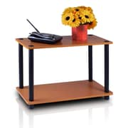 Furinno® Rubber Trees & Polyvinyl Chloride Tubes 2-Tier End Tables Set, Light Cherry & Black