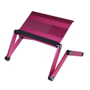 Furinno 22'' Rectangular Aluminum Modern Laptop Desks & Carts Desk, Pink (A6-PINK)