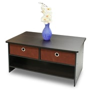 "Furinno® 15.6"" x 31.5"" Wood Coffee Table with Bin Drawers"