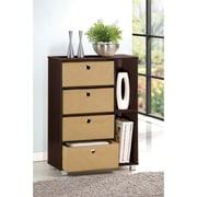 """Furinno® Engineered Particleboard Multipurpose Storage Shelf Cabinet Dresser 33.2"""", Espresso"""