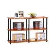 Furinno® Particle Board & PVC Tube Turn-N-Tube 3-Tier Double Size Storage Display Rack Cherry/Black