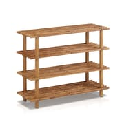 "Furinno® 27.6"" x 22"" Pine Solid Wood 4-Tier Shoe Rack"