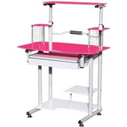 Hodedah Modern Glass/Metal Computer Desk, (HIS210 Pink)