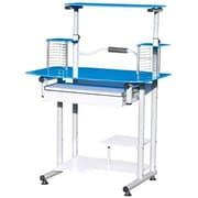 Hodedah Modern Glass/Metal Computer Desk, (HIS210 Blue)