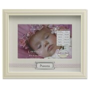 Lawrence Frames 440464 Ivory Resin 6.9 x 8.5 Picture Frame, Pink Polka Dot Ribbon