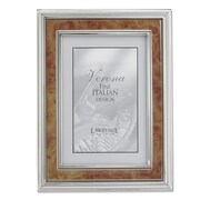 Lawrence Frames 630046 Silver Metal 8.19 x 6.22 Picture Frame, Natural Burl Panel