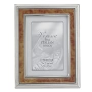 Lawrence Frames 630057 Silver Metal 9.25 x 7.2 Picture Frame, Natural Burl Panel