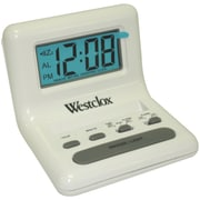 Westclox® 47539 Celebrity Glo-Clox Compact Travel Alarm Clock, White