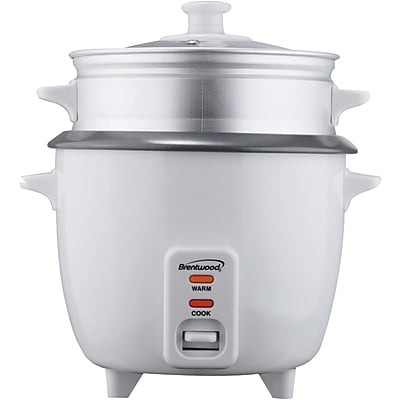 Brentwood 5 Cup Rice Cooker With Steamer, White 1196686