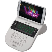 Jensen® JCR-295 Bluetooth Clock Radio With Cellphone Holder, White