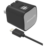 DigiPower® InstaSense™ 3.4A Dual USB Wall Charger Kit With Lightning™ Cable, Black
