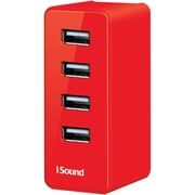 iSound® 3' 4-Rubberized USB Pro Wall Charger, Red