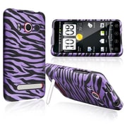Insten® Snap-in Case For HTC EVO 4G, Purple/Black Zebra