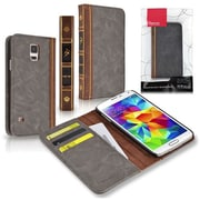Insten® Bible Leather Case With Card Slots For Samsung Galaxy S5, Charcoal Black/Brown