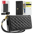 Insten® Wrist-let Quilted Leather Cases With Card Slots/Lanyds. F/iPhone 4
