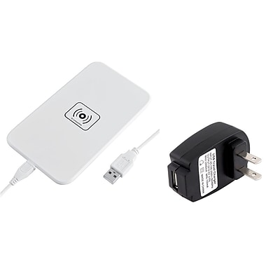 Insten® 1905722 2-Piece USB QI Wireless Charger Adapter Pads Bundle, White