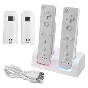 Insten® 33647 Dual Charging Station W/2 Rechargeable Batteries & LED Light F/Wii Remote Control, White