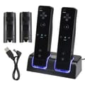 Insten® Dual Charging Station W/2 Rechargeable Batteries & LED Lights F/Wii Remote Control