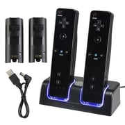 Insten® 33647 Dual Charging Station W/2 Rechargeable Batteries & LED Light F/Wii Remote Control, Black