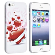 Insten® Snap-in Rubber Coated Case For Apple iPhone 5/5S, White With Red Heart