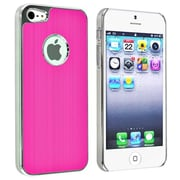 Insten® Snap-in Case For Apple iPhone 5, Hot Pink Brushed Chrome Aluminum Rear