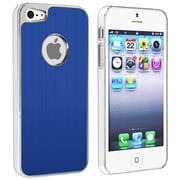 Insten® Snap-in Case For Apple iPhone 5, Blue Brushed Chrome Aluminum Rear