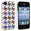 Insten® Snap-in Case For Apple iPhone 4/4S, Colorful Cross Pattern