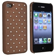 Insten® Snap-in Case For Apple iPhone 4/4S, Brown Diamond Gem Rear