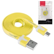 Insten® 3' Micro to USB 2.0 Universal Charging Date Noodle Cable, Yellow