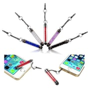 Insten® 1885925 5-Color Pack Crystal Mini Stylus With 3.5mm Plug Cap, Blue/White/Red/Pink/Black