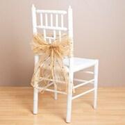 Saro Sheer Fuzzy Stripes Chair Tie; Gold