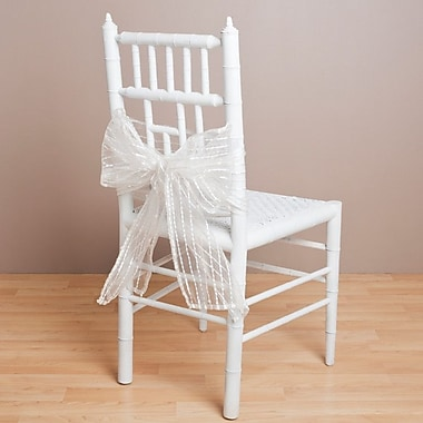 Saro Sheer Fuzzy Stripes Chair Tie; Ivory