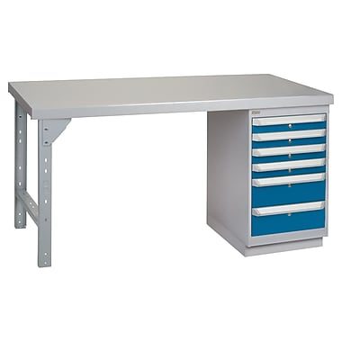 Kleton Workbench, Wood Filled Steel Top, 1 Pedestal and 6 Drawers