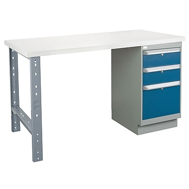 Kleton Workbench, Plastic Laminate Top, 1 Pedestal and 3 Drawers