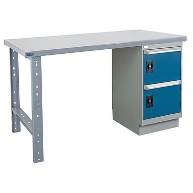 Kleton Workbench, Wood Filled Steel Top, 1 Pedestal and 2 Doors